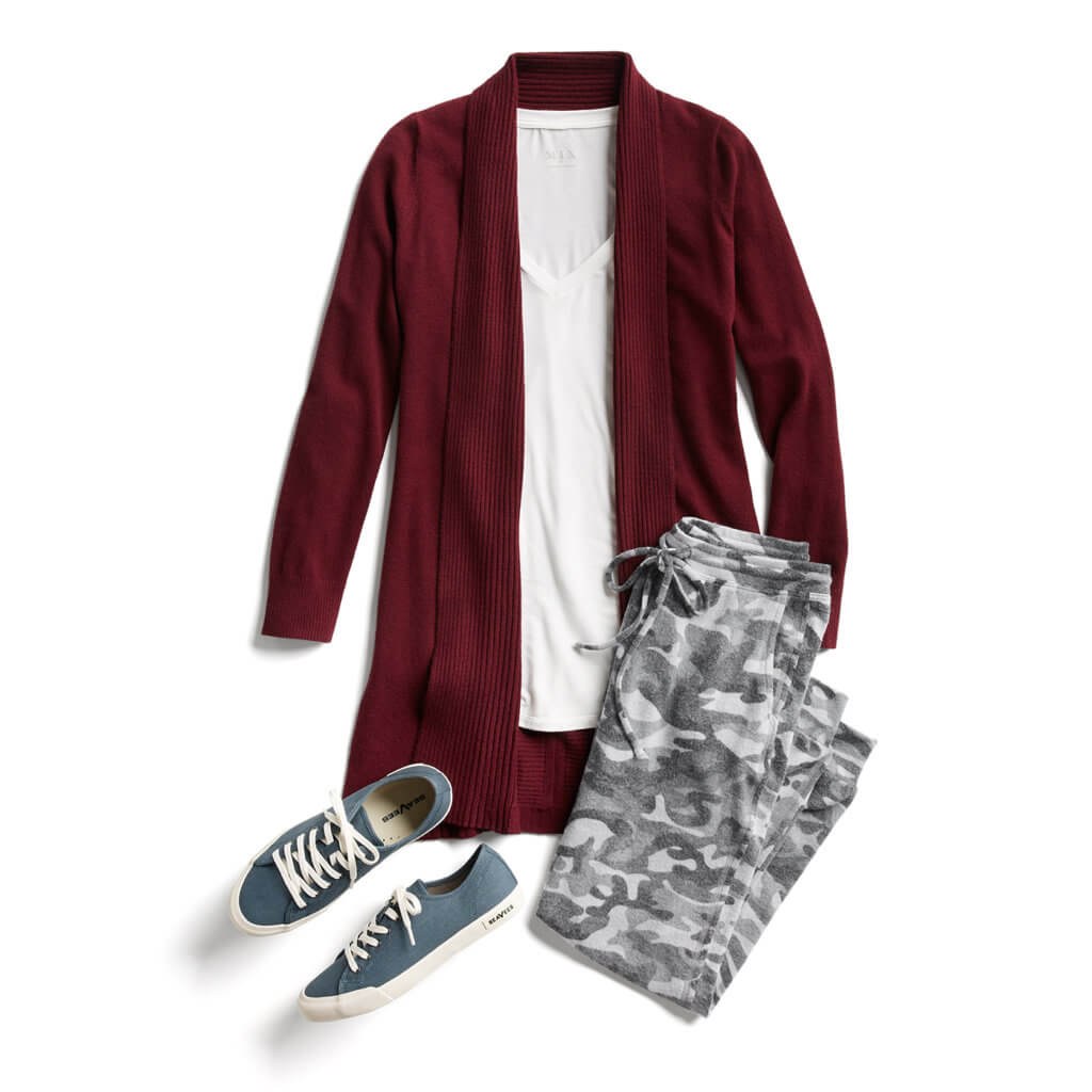 Loungewear outfit including a tee, cardigan, joggers, and sneakers from Stitch Fix.