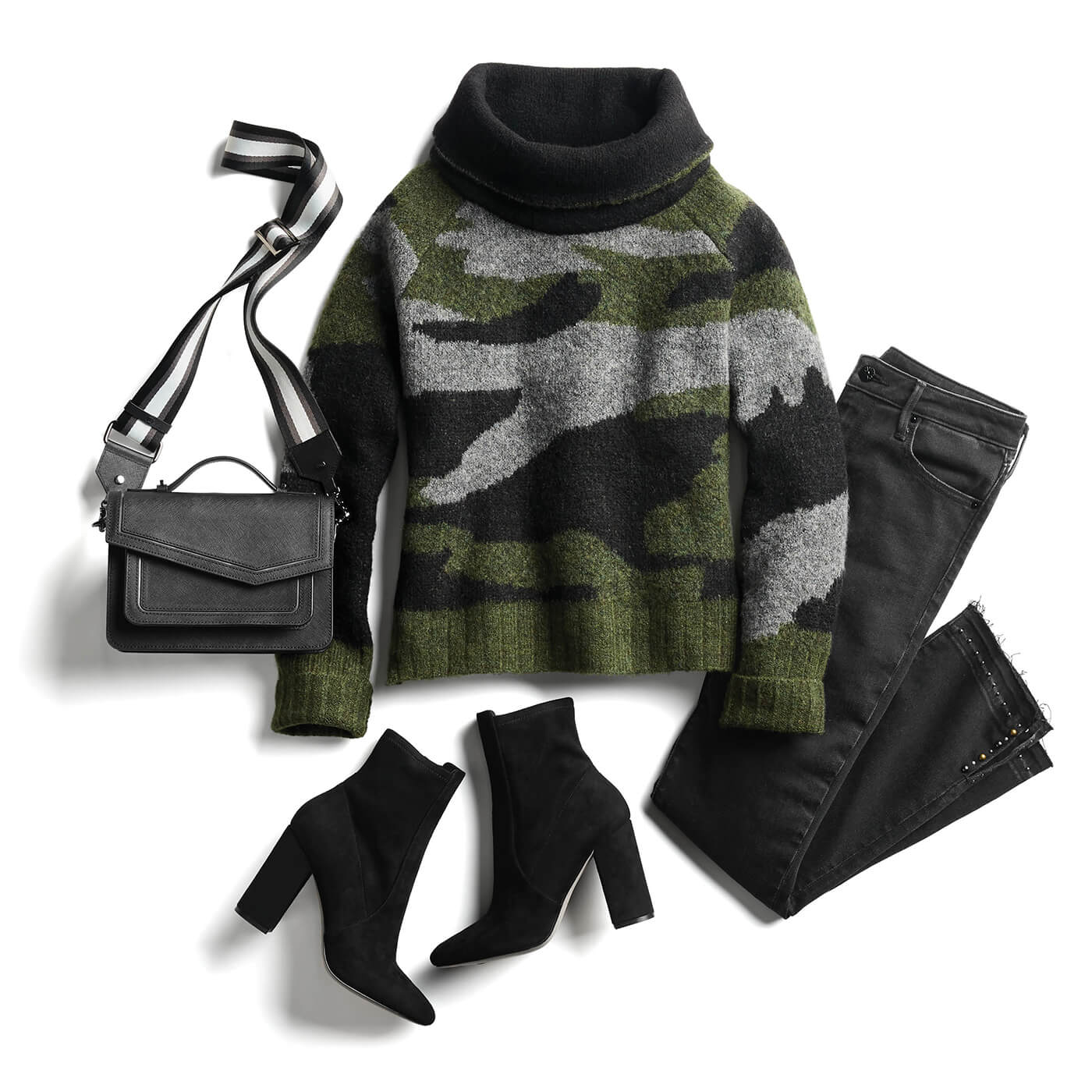 camo sweater and black jeans