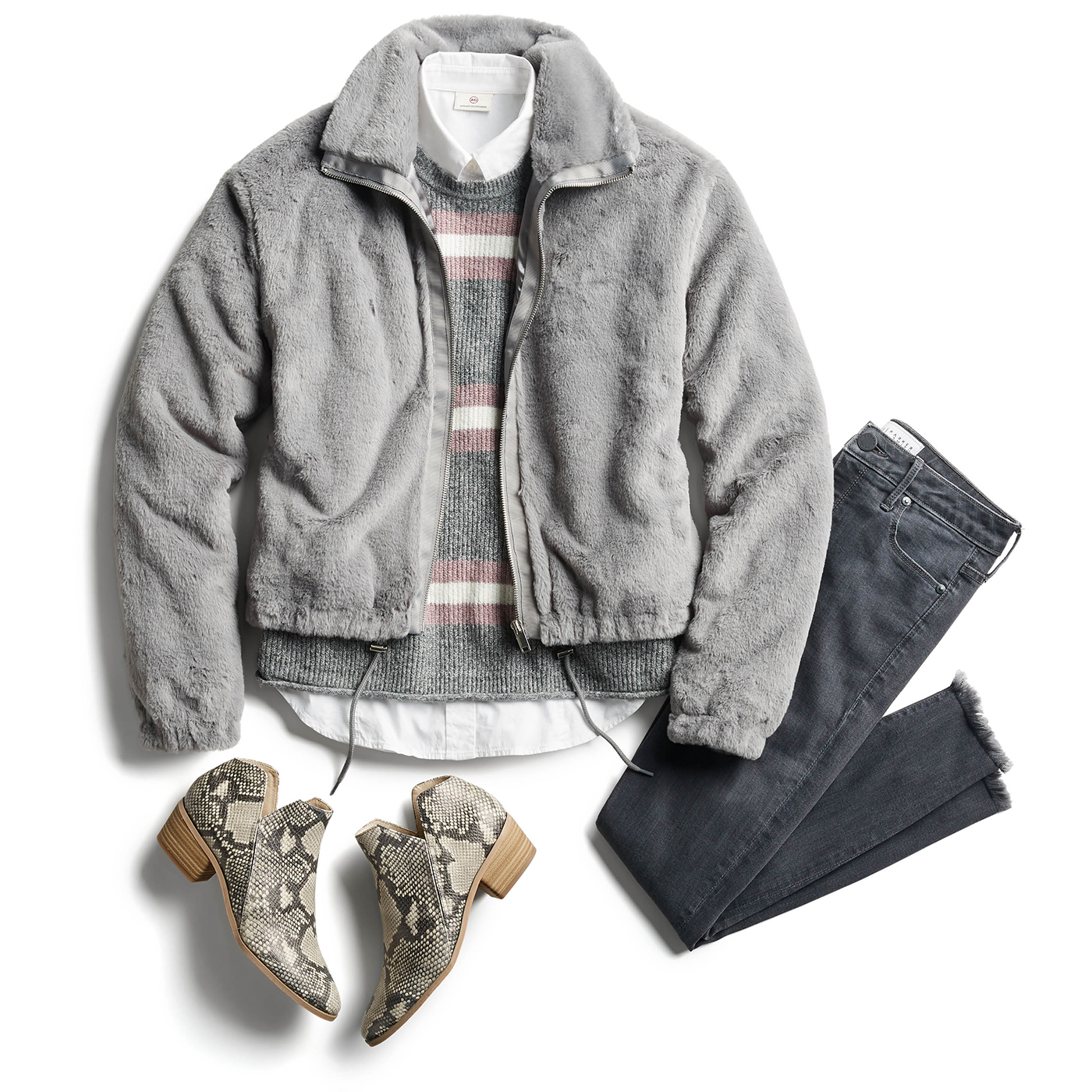 grey fleece jacket and grey jeans