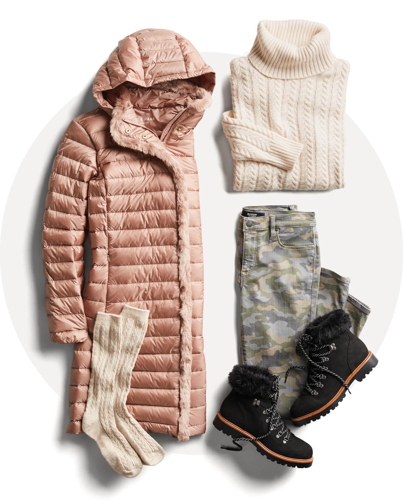 puffer jacket, furry boots, turtleneck sweater