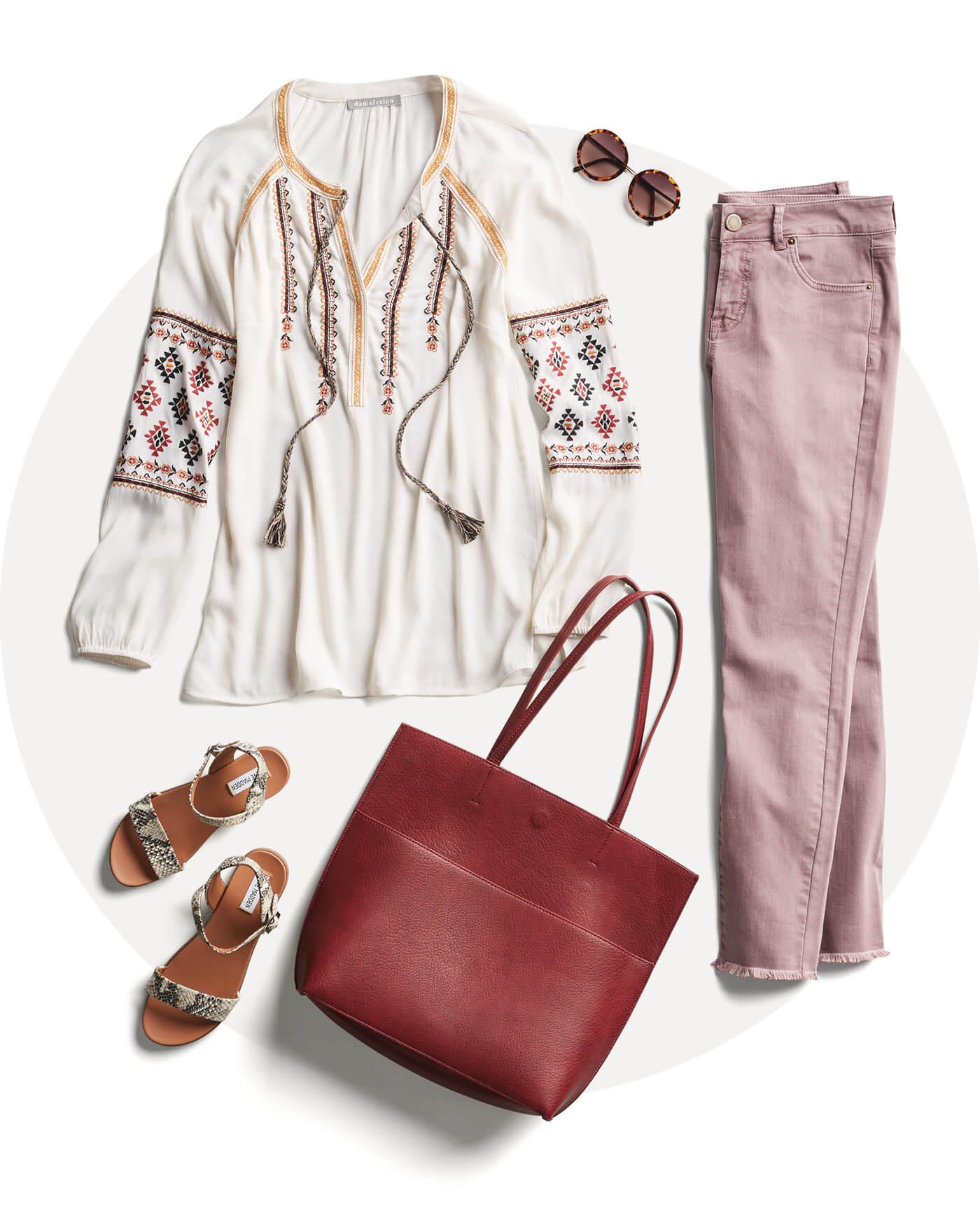boho blouse, pink pants, sandals