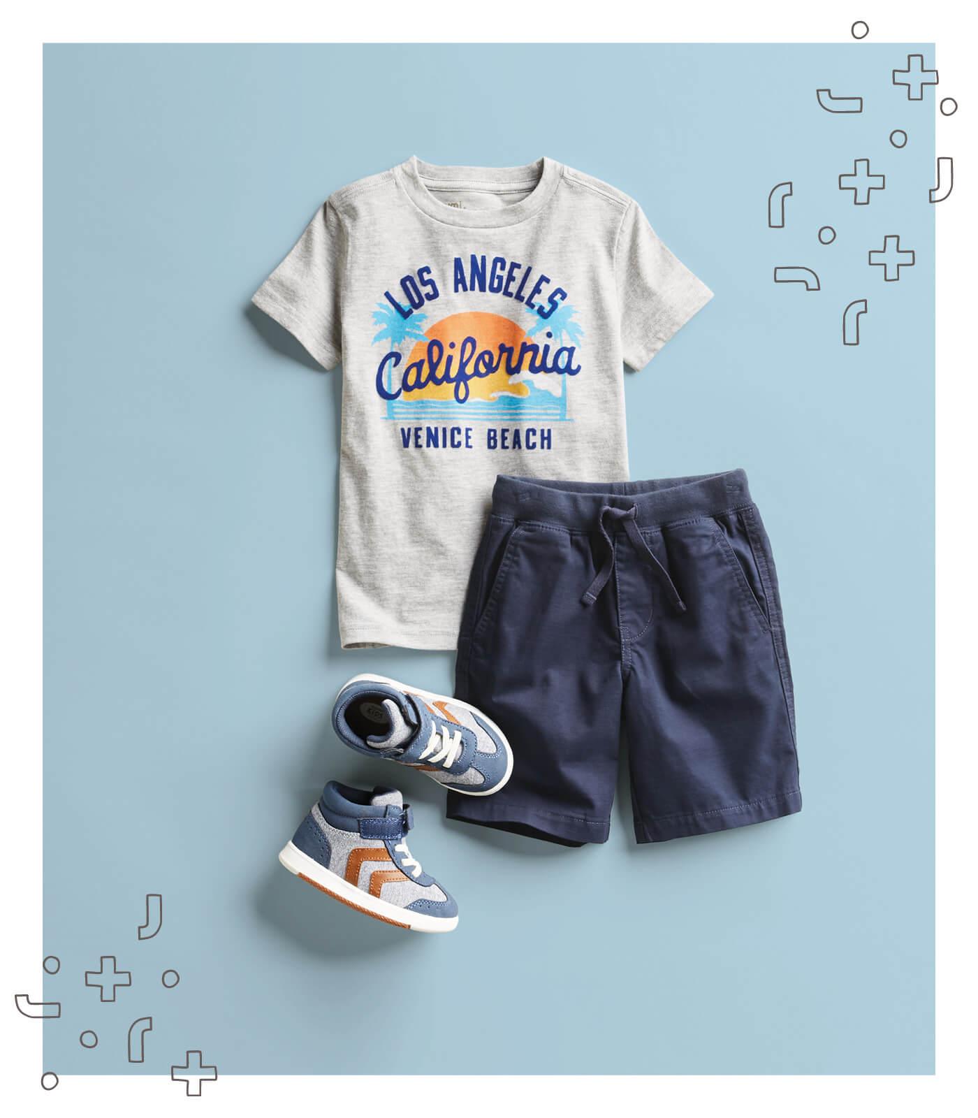 kid's california t-shirt and shorts