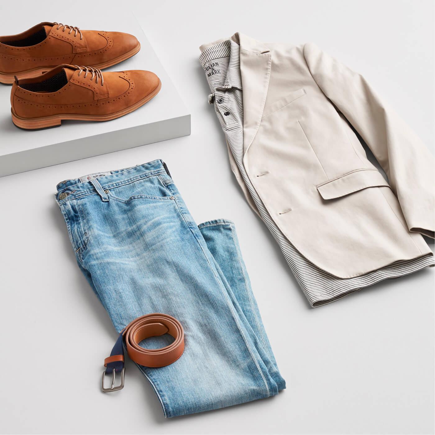 men's jeans with khaki blazer