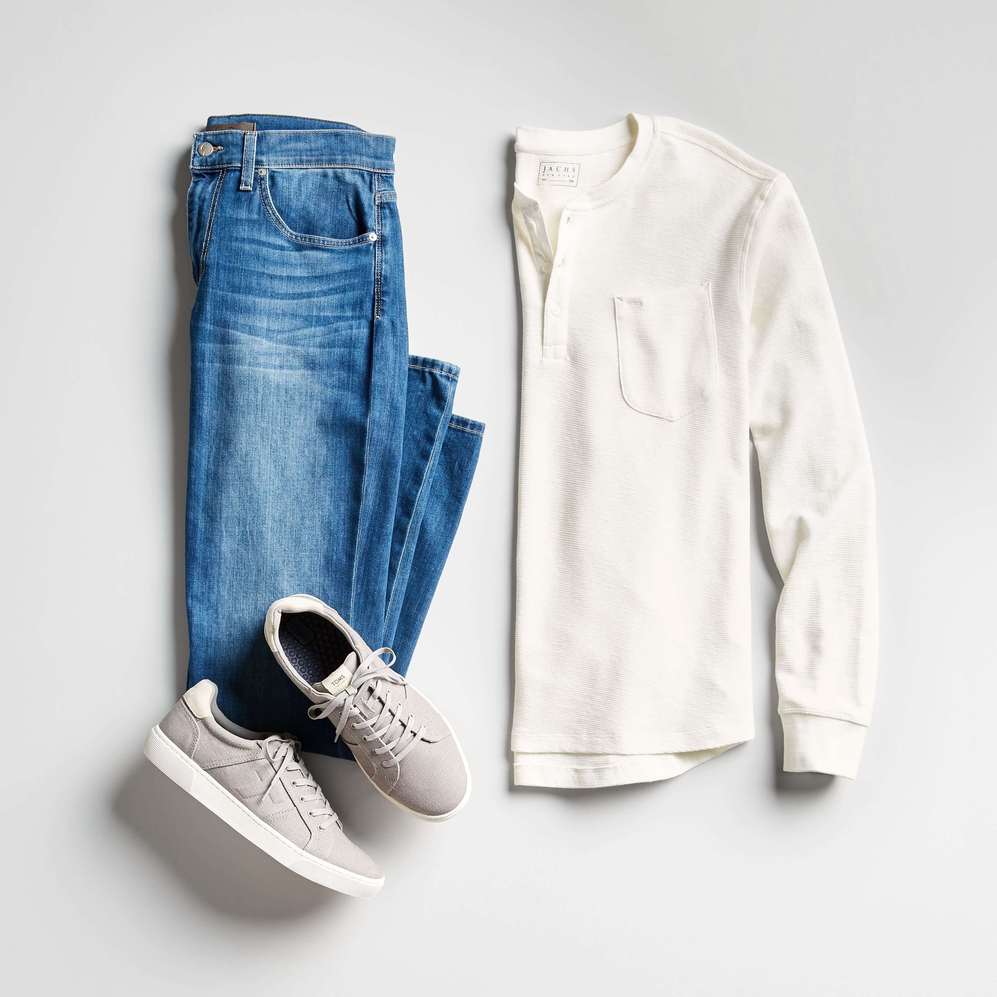 men's white henley and jeans