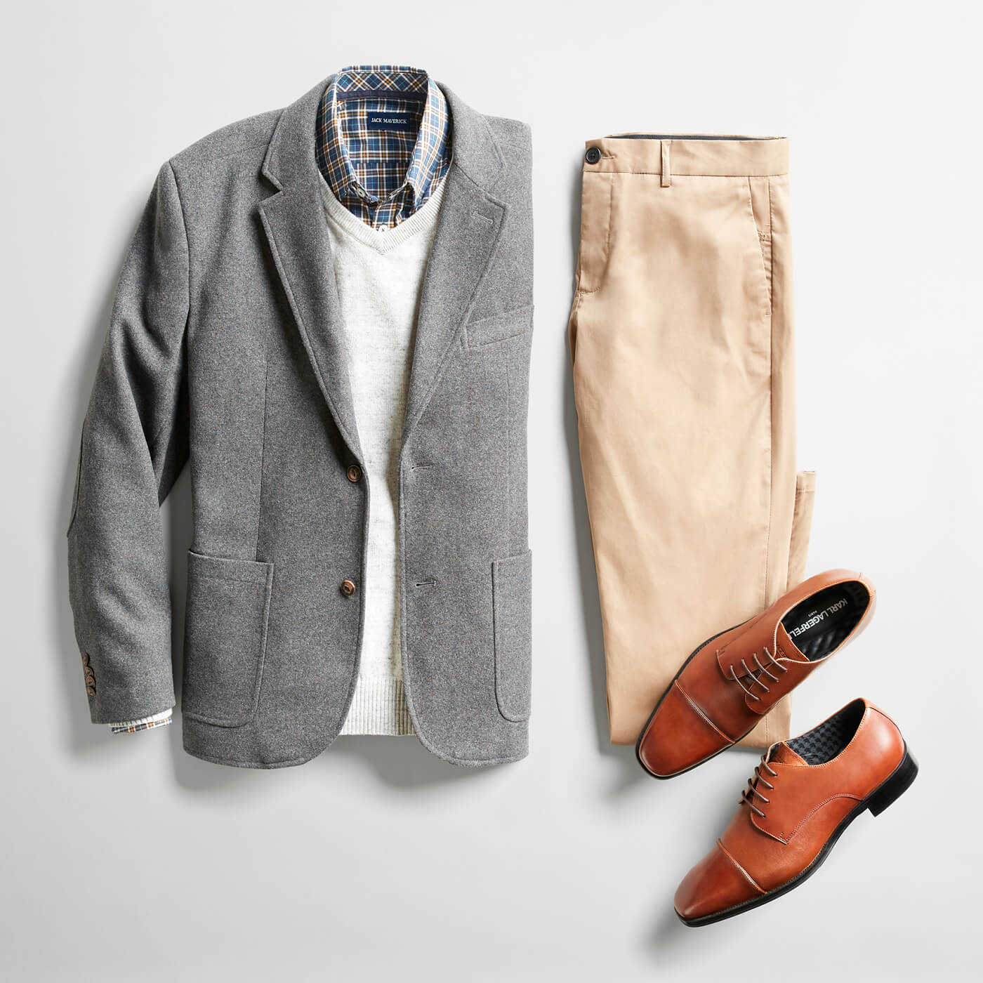 grey blazer and beige chinos