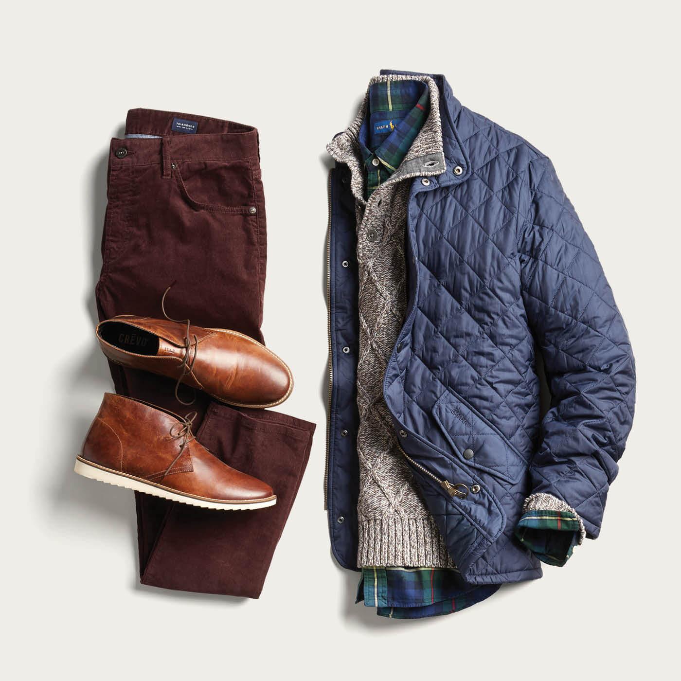 blue jacket and brown corduroy pants