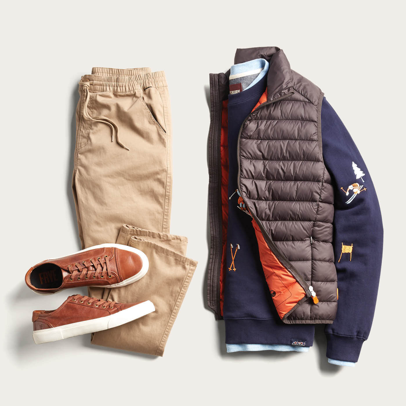 puffer vest and chinos