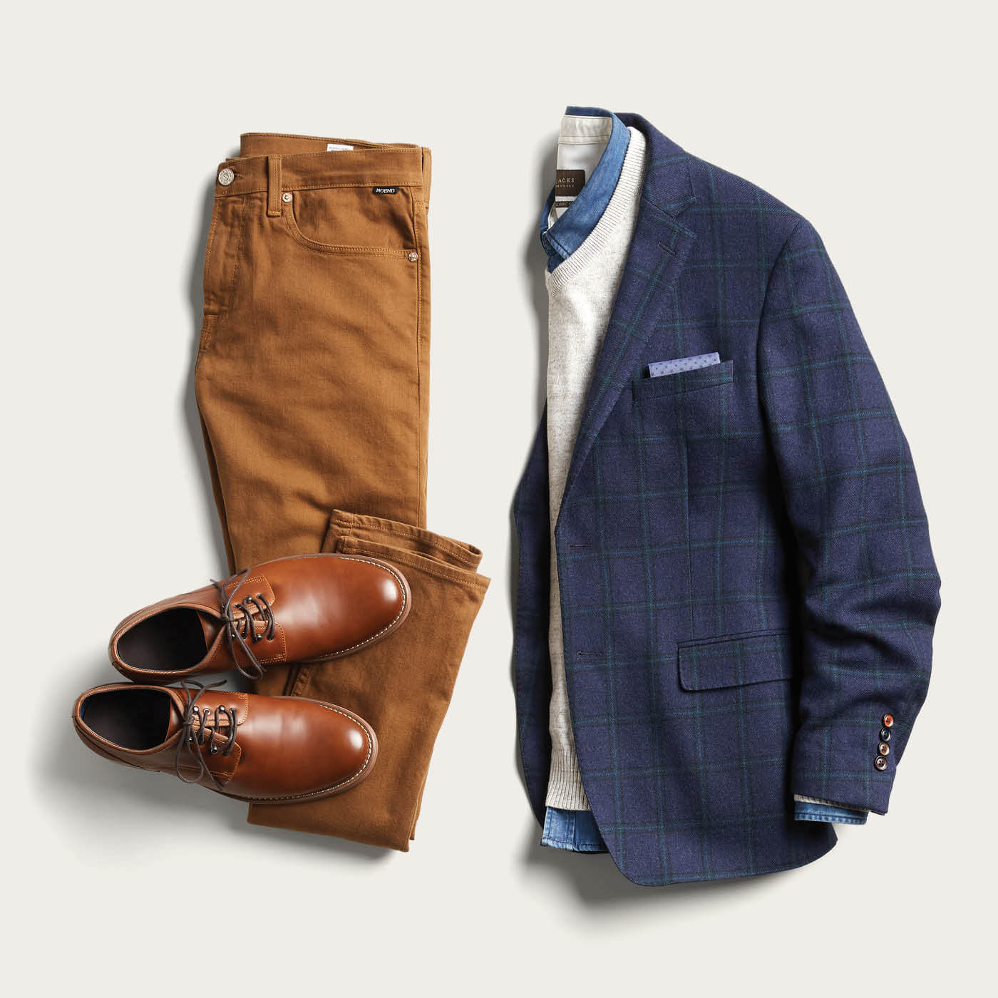 navy blazer and brown pants