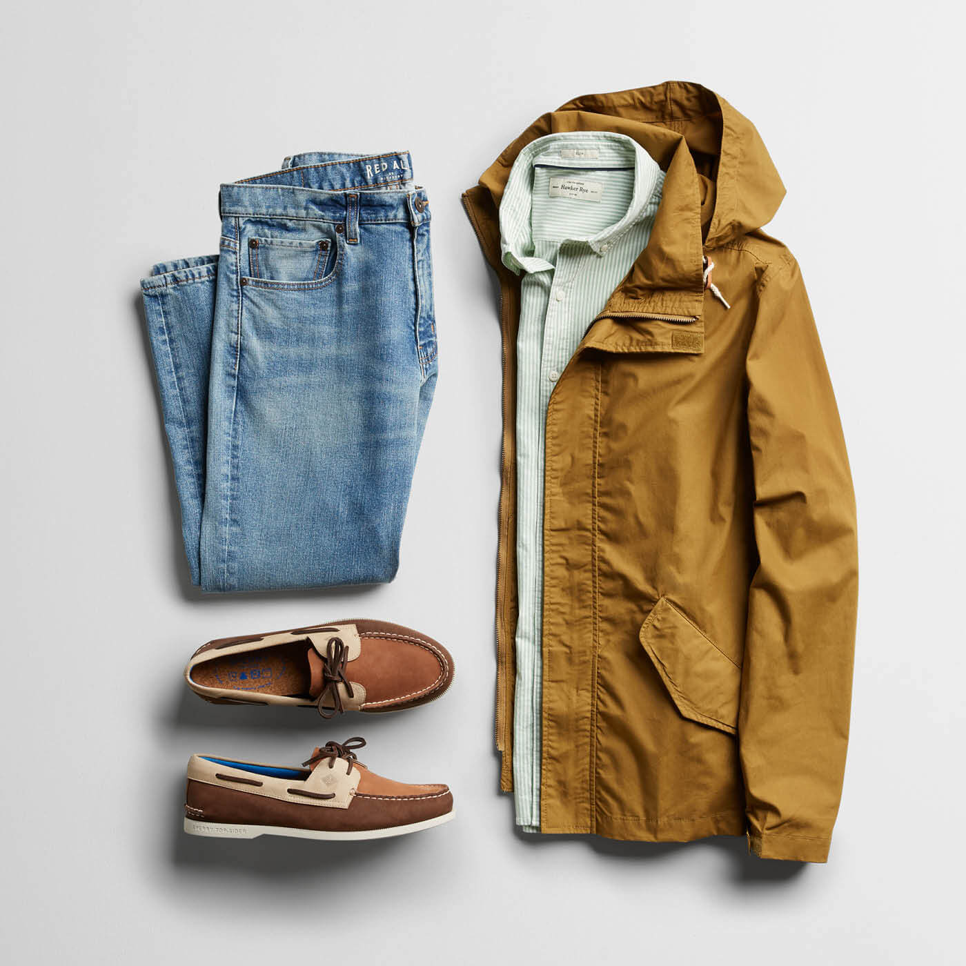 khaki jacket, jeans and boat shoes