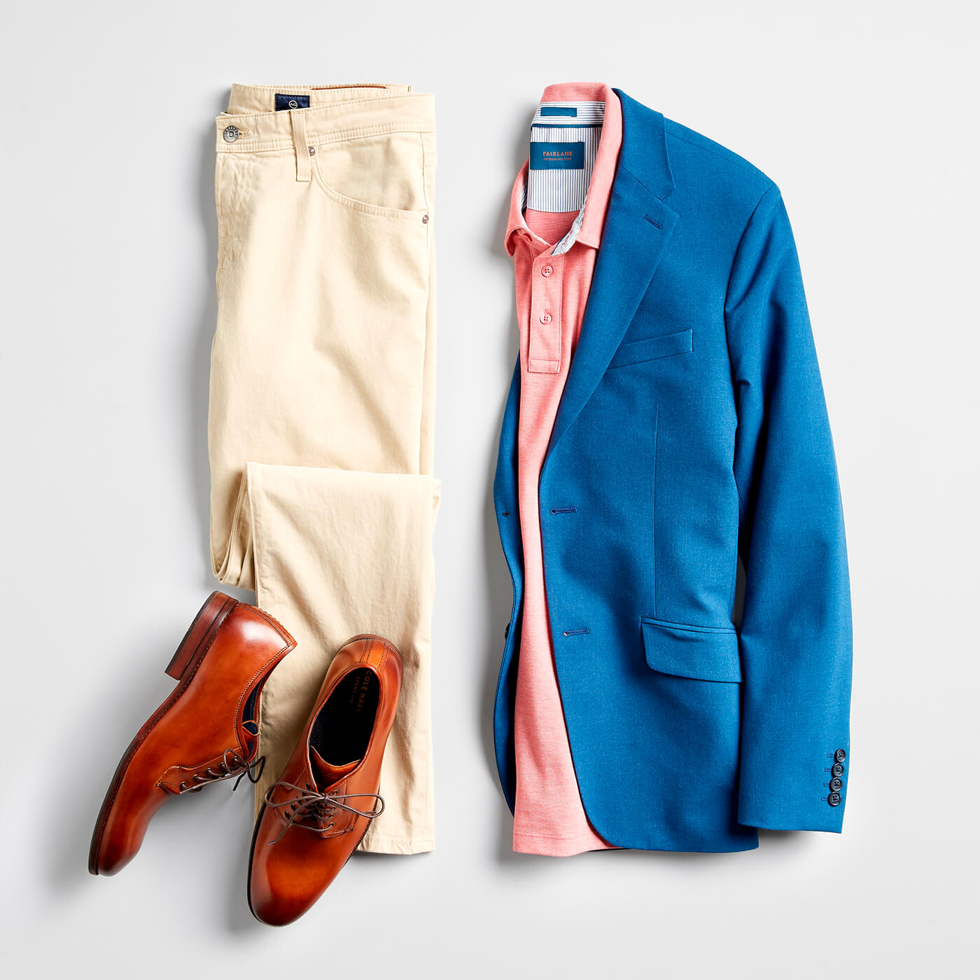 polo and blue blazer outfit