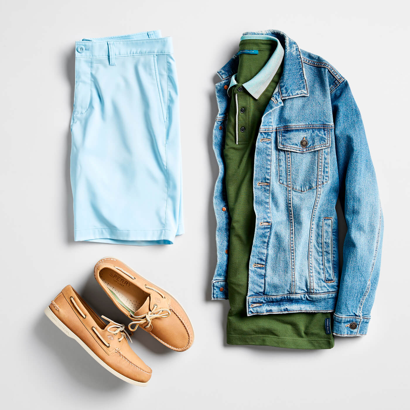 green polo and jean jacket