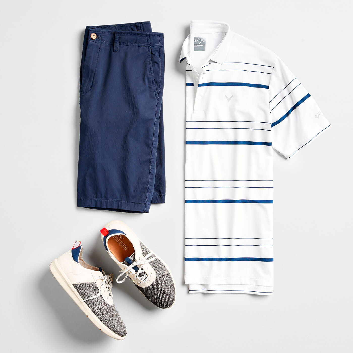 striped polo and shorts