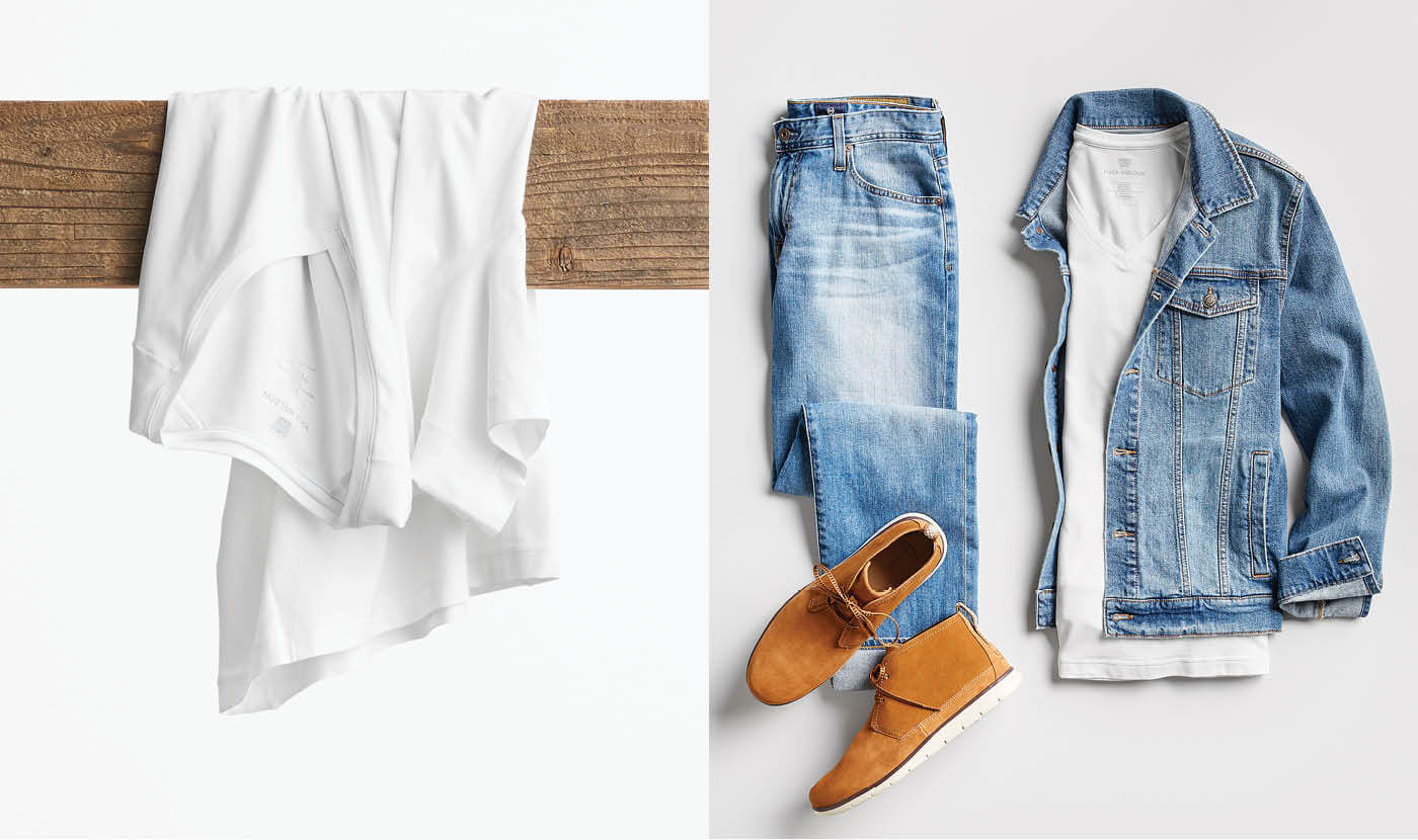 men's white t-shirt outfit with jeans