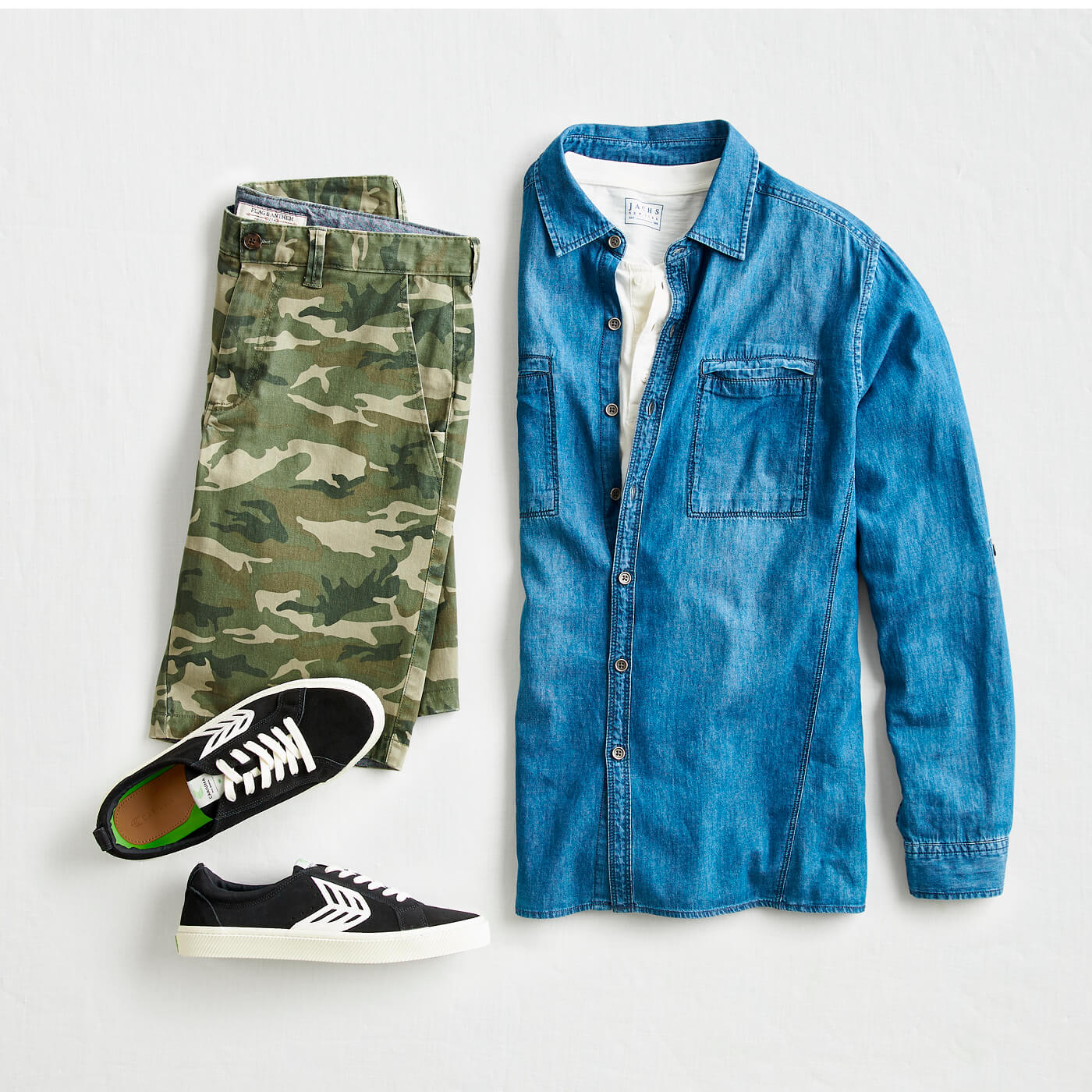 sneakers with camo shorts and chambray shirt