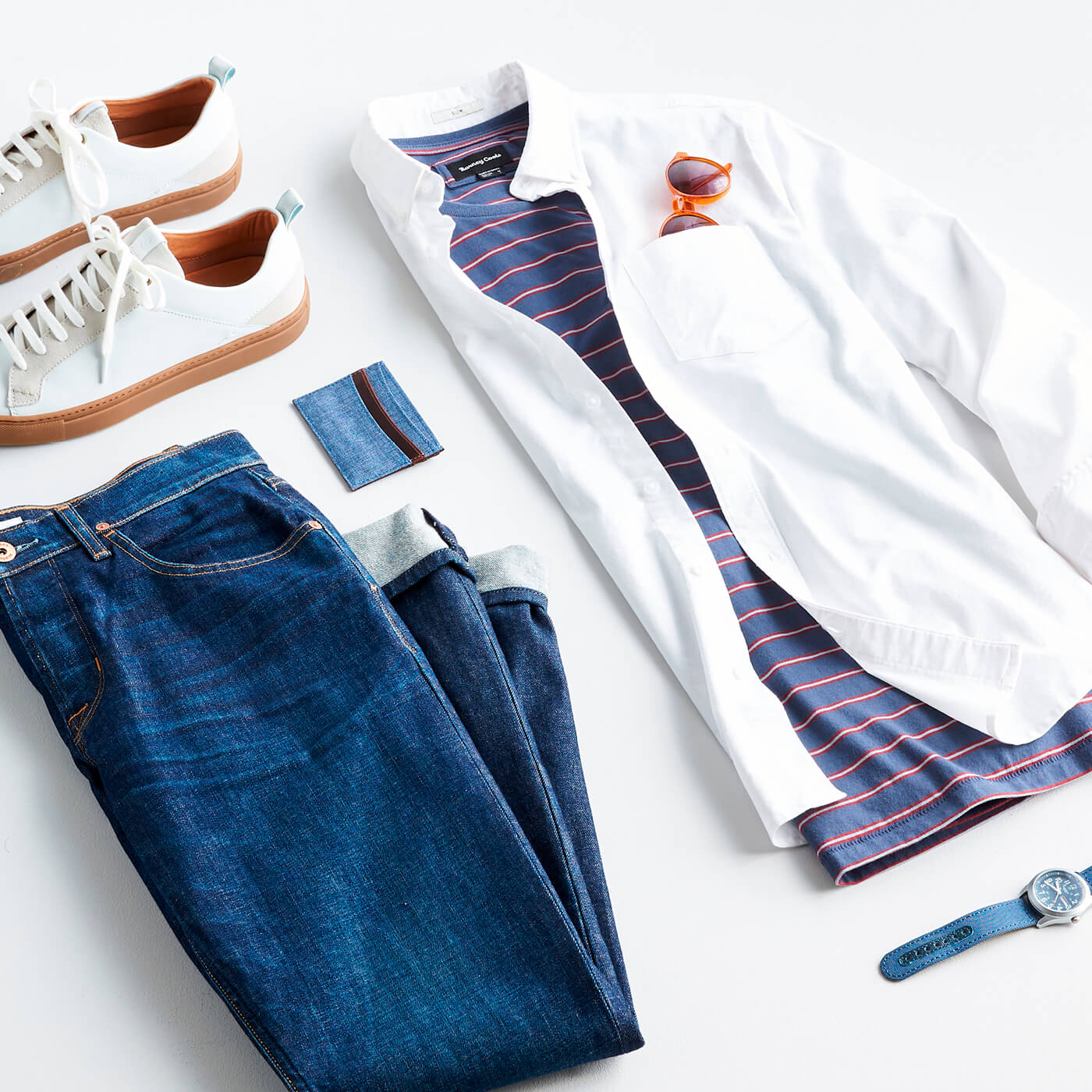 men's white oxford shirt with jeans