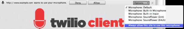 Chrome's WebRTC Permissions Dialog