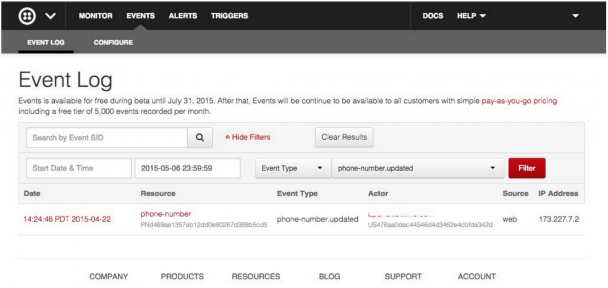 Using Event Log to track activity or changes in your project – Twilio