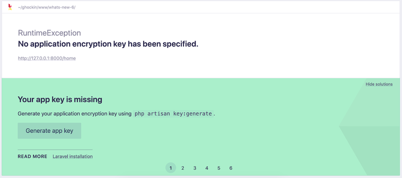 Screenshot of Ignition detecting a missing app key, and suggesting to generate a new app key itself
