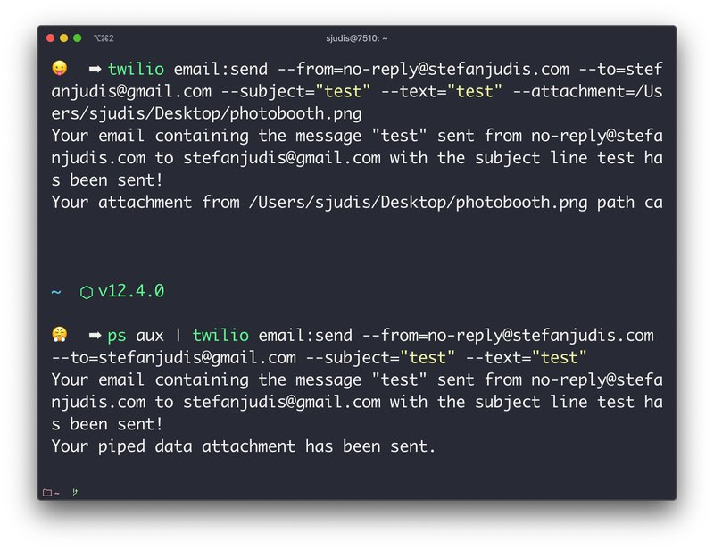 Example command to pipe data in `twilio email:send`