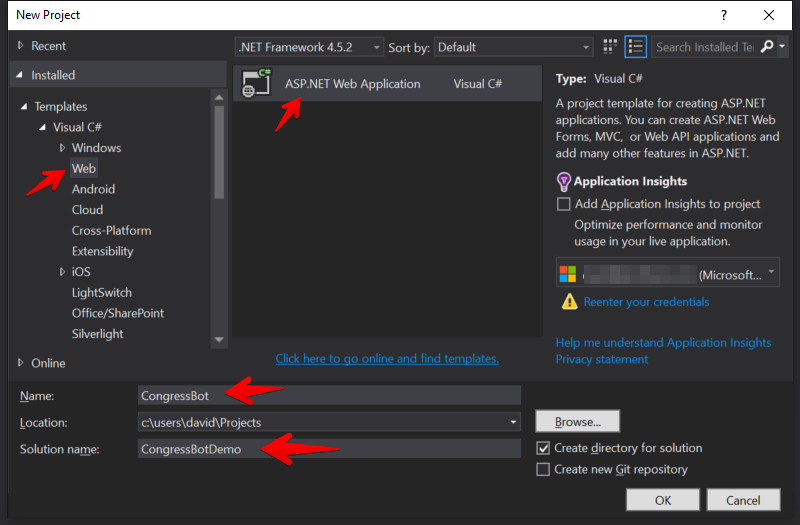 Visual Studio - 新規 ASP.NET Web Application