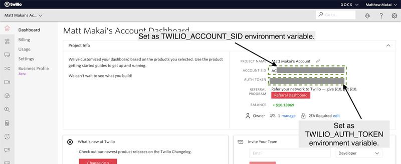 Twilio Account Number Dashboard
