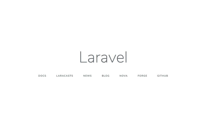 Laravel home screen