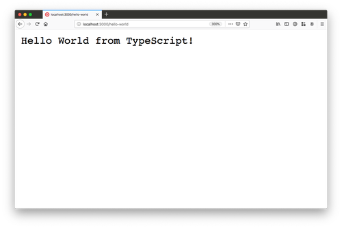 """browser window with """"Hello World from TypeScript"""" on it"""