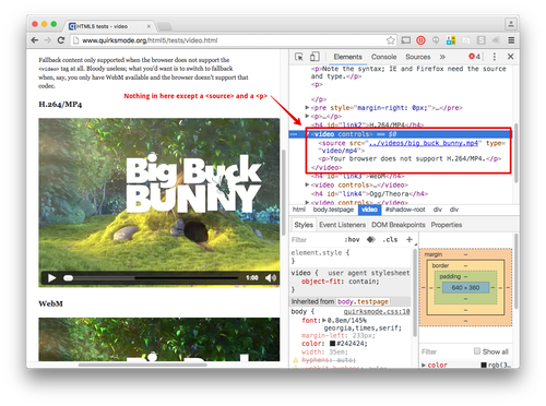 Inspecting an HTML5 Video element only shows the HTML you'd expect, a source element and a fallback paragraph element.