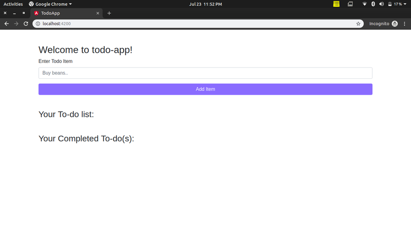 View of todo application