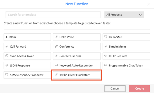 Twilio Client Quickstart Functions Template