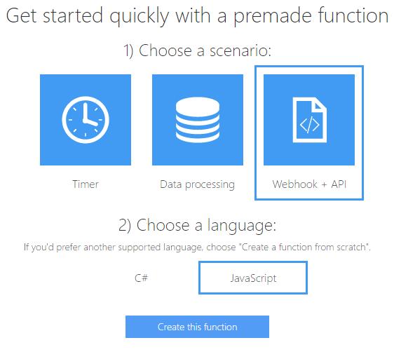 Azure - Create JS function