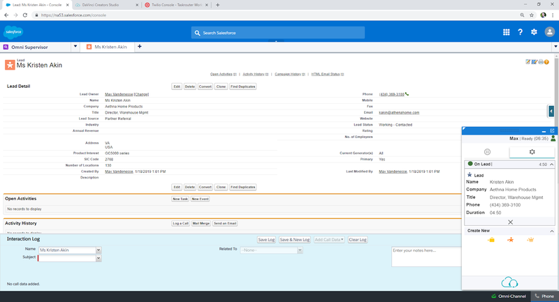 Screenshot of Salesforce with DaVinci Agent