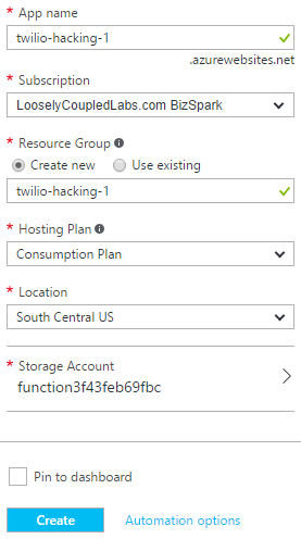 Serverless Webhooks with Azure Functions and Node js - Twilio