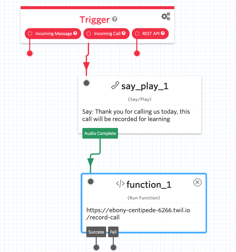 Twilio Say/Play widget and Function trigger.