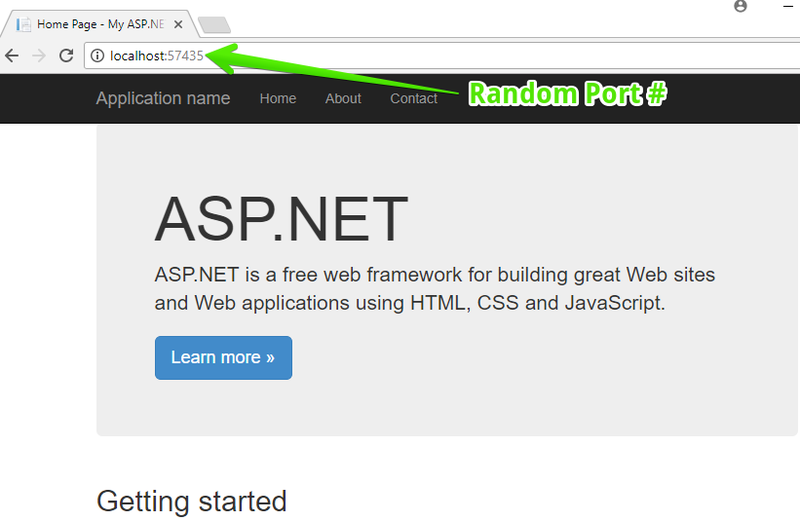 Visual Studio New ASP.NET Web Application - Home page