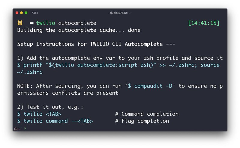Instructions to set up auto-complete after ran `twilio autocomplete`