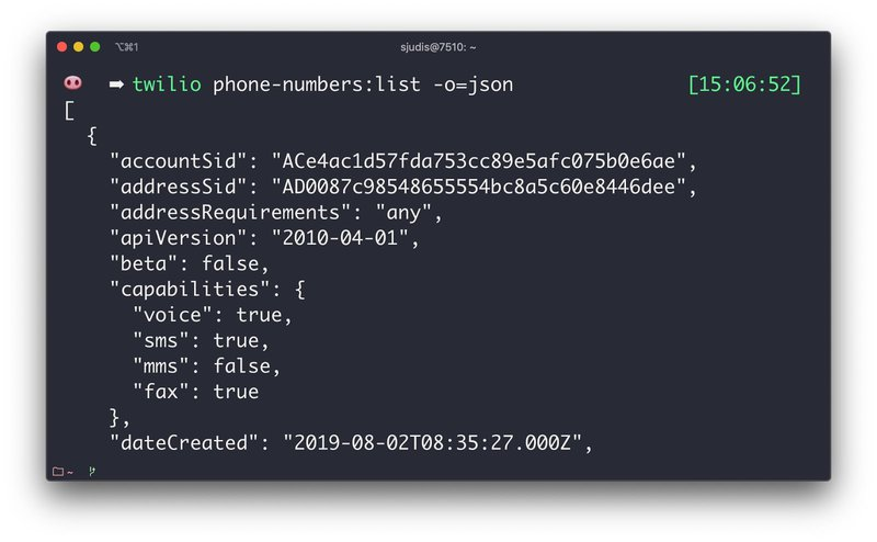 JSON output with `twilio phone-numbers:list -o=json` and the -o flag
