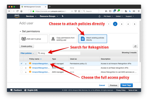 When setting permissions, choose to attach policies directly, then search for Rekognition and choose the full access policy.