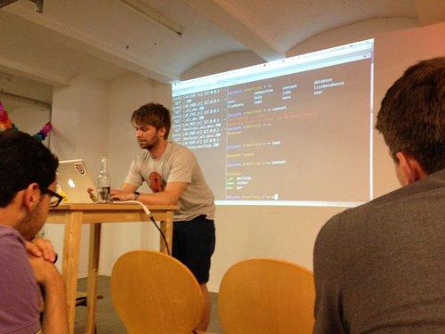 Stefan giving his first meetup talk
