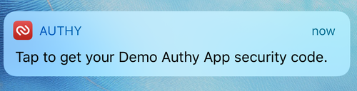 Authy push notification - app installed on attempt to send an SMS