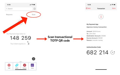 Scan transactional TOTP QR code