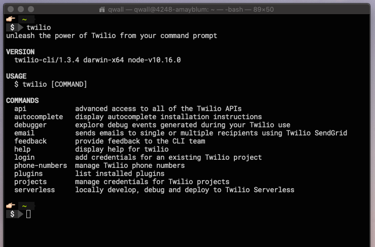 Screenshot of the Twilio Command Line Interface
