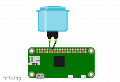 a fritzing diagram of a Raspberry Pi and a button plugged in to BCM pin 18 and GND.