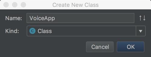 新規VoiceAppクラスを作成する