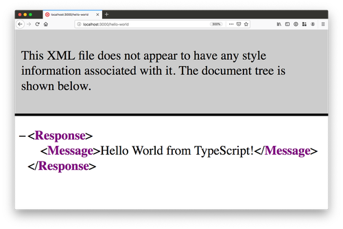 """browser window screenshot with TwiML and a message """"Hello World from TypeScript!"""" on it"""