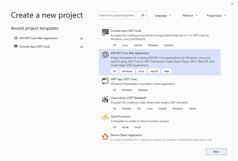 Create a new ASP.NET project