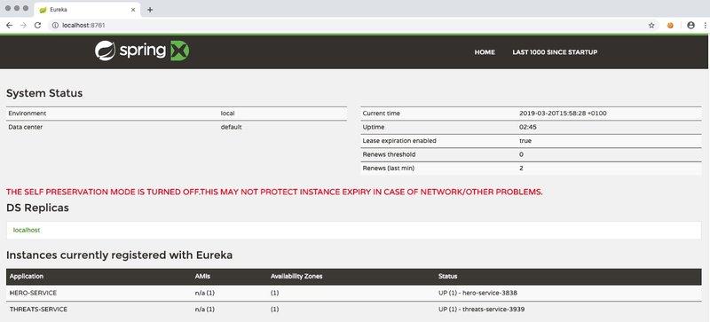 Eureka services instances registered