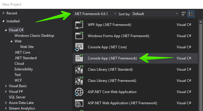 Visual Studio New Console App