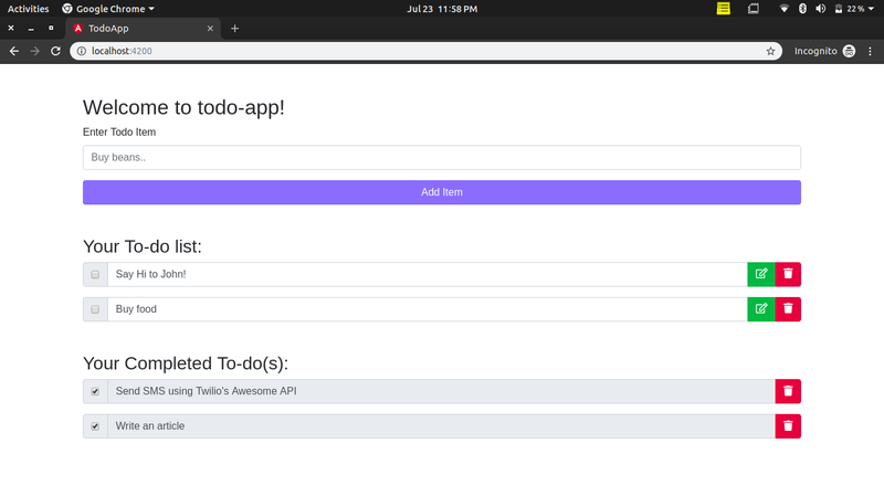 Todo application with uncompleted and completed todo items