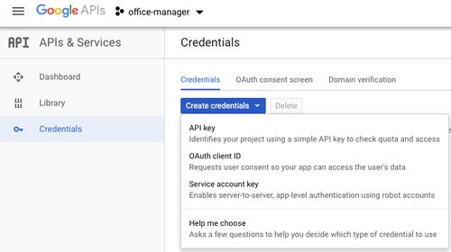 screenshot generating Google API Credential